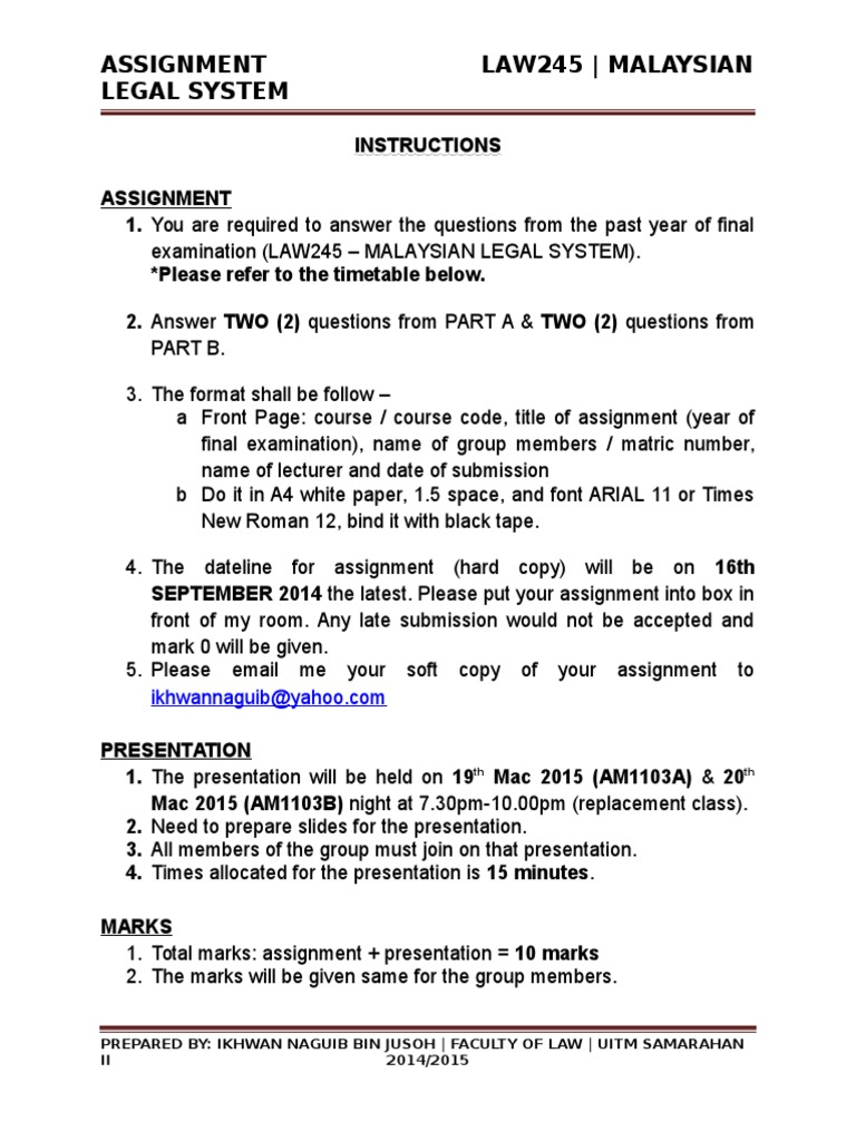 Assignment Law245 2015 1