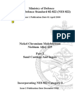 NES 822 Part 2 Requirements for Nickel Chromium Molybdenum Niobium Allloy 625