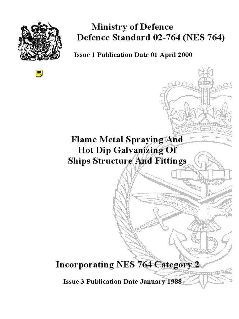 NES 764 Flame Metal Spraying and Hot Dip Galvanizing of