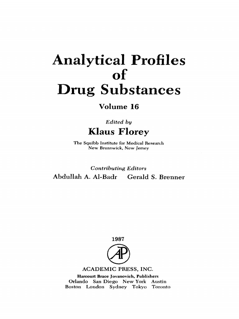 Vol 16 Analytical Profiles Of Drug SubstanBookSeeorg V