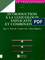 Introduction a La Lexicologie Explicative Et Combinatoire