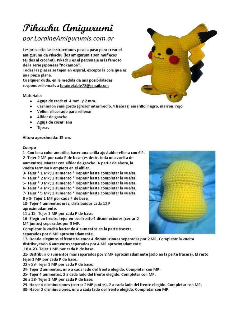 Crochet patrones de Pikachu de Pokemon archivo PDF por Aradiya ... | 1024x768