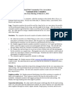 Communications Meeting Notes - March 11, 2013