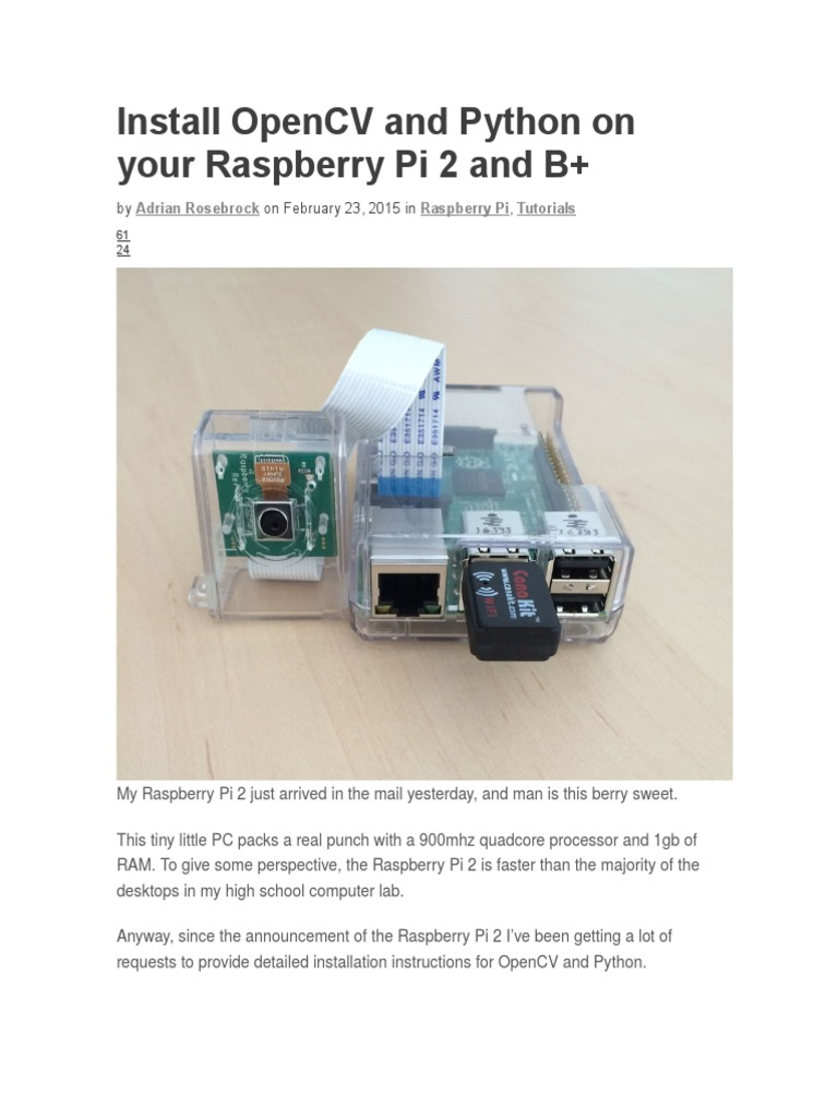Install OpenCV and Python on Your Raspberry Pi 2 and B | Usb | Arm