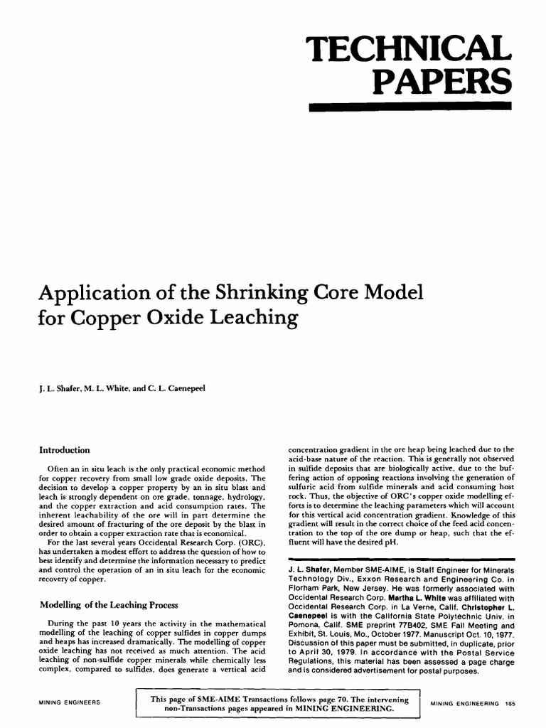 Application of the Shrinking Core Model for Copper Oxide