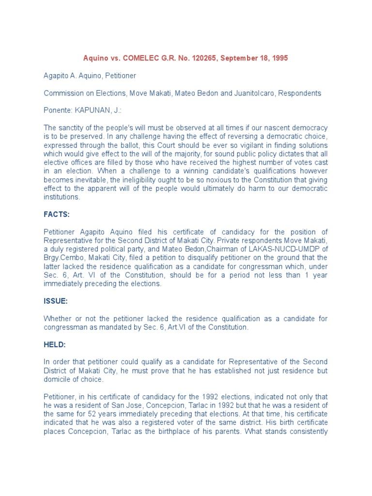 Report aquino vs domicile law voting xflitez Gallery