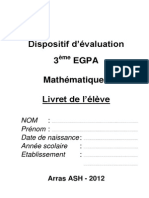 Evaluation 3eme EGPA 2012 Livret Eleve Mathematiques