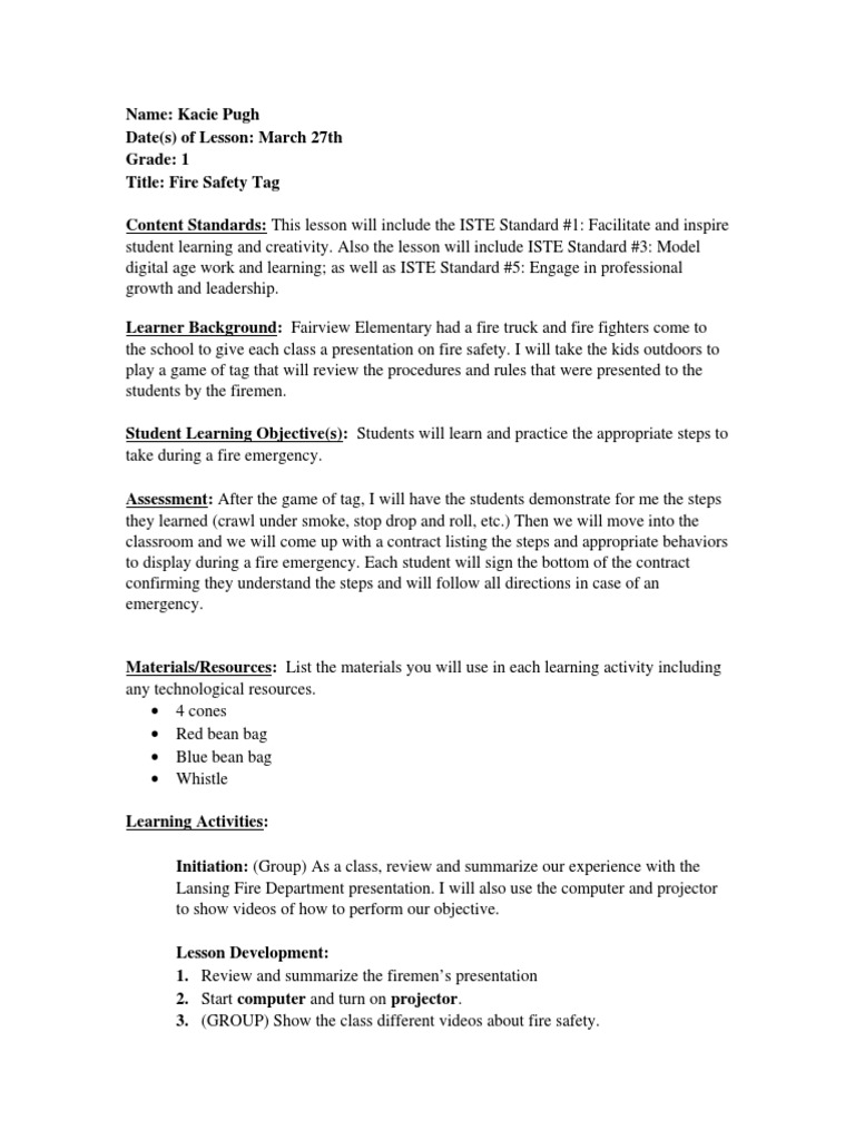 Lesson plan grade 1 fire safety tag lesson plan quality of life ibookread Download