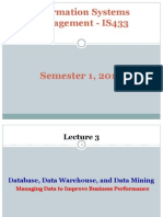 Database, Data Warehouse and Data Mining