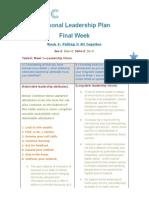 Assignment4Week4PersonalLeadershipFinalWeekPlan