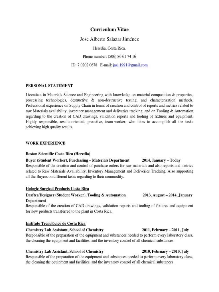 Curriculum Vitae Jose Salazar Thin Film Transmission Electron