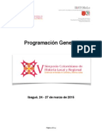 PROGRAMACIÓN GENERAL V SIMPOSIO COLOMBIANO DE HISTORIA LOCAL Y REGIONAL