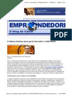 2009-09-03 - Conheça Técnicas Para Gerar Inovação e Criatividade