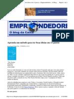 2009-09-07 - Aprenda Um Método Para Ter Boas Ideias Em 11 Passos