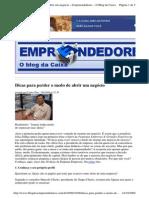 2009-10-08 - Dicas Para Perder o Medo de Abrir Um Negócio