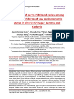 Prevalence of early childhood caries among preschool children of low socioeconomic status in district Srinagar, Jammu and Kashmir