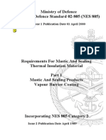 NES 805 Part 1 Requirements for Mastic and Sealing Thermal Insulation Material
