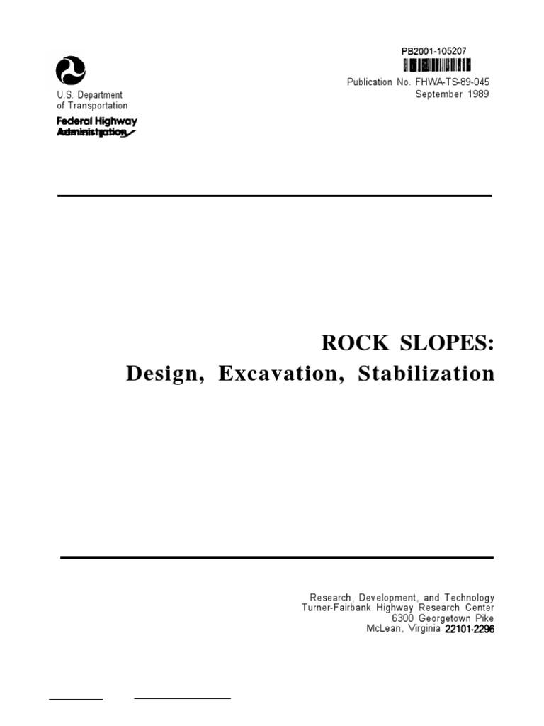 fhwa hoek y bray rock slopes engineering mechanical rh scribd com  rock slopes reference manual fhwa hi-99-007