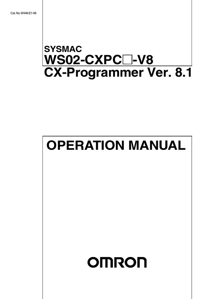 CX-Programmer V8.1 Operation Manual W446-E1-06