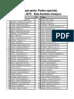 Repartizare Sali 8 Februarie 2015