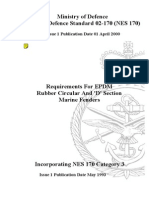NES 170 Requirements for EPDM Rubber Circular and 'D' Section Marine Fenders Category 3
