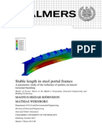 Stable length in steel portal frames