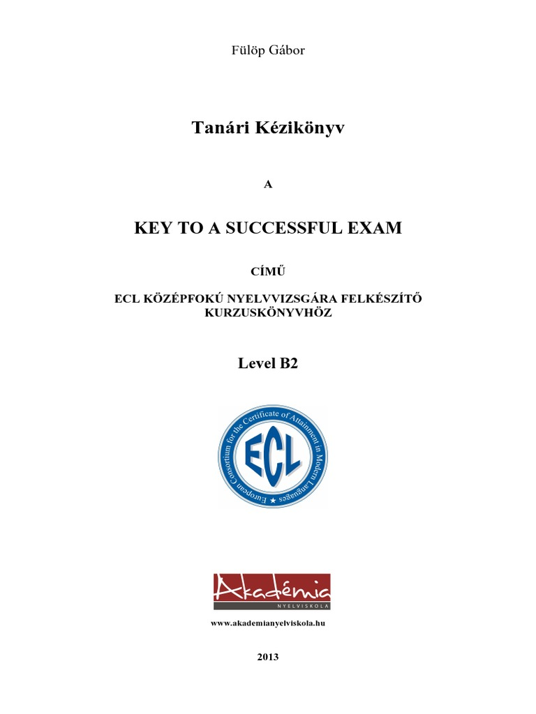 tanári kézikönyv key to a successful exam secondary