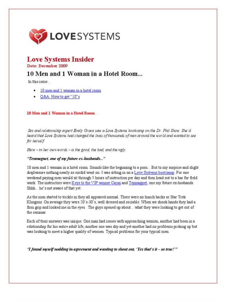 Love Systems Insider: 10 Men and 1 Woman in a Hotel Room