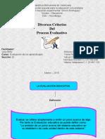 diversos criterios del proceso evaluativo