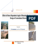 Effect of Stress Dependent Angle of Shearing Resistance in the Design of Geotechnical Structures