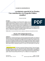RATZEL - Las Leyes Del Crecimiento Espacial de Los Estados. Una Contribución a La Geografía Política Científica