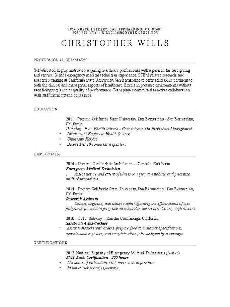 Resume Christopher Wills Emergency Medical Technician Public Health