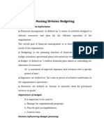 Nursing Division Budgeting