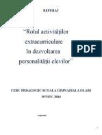 Rolul activitatilor extracurriculare in dezvoltarea personalitatii elevului