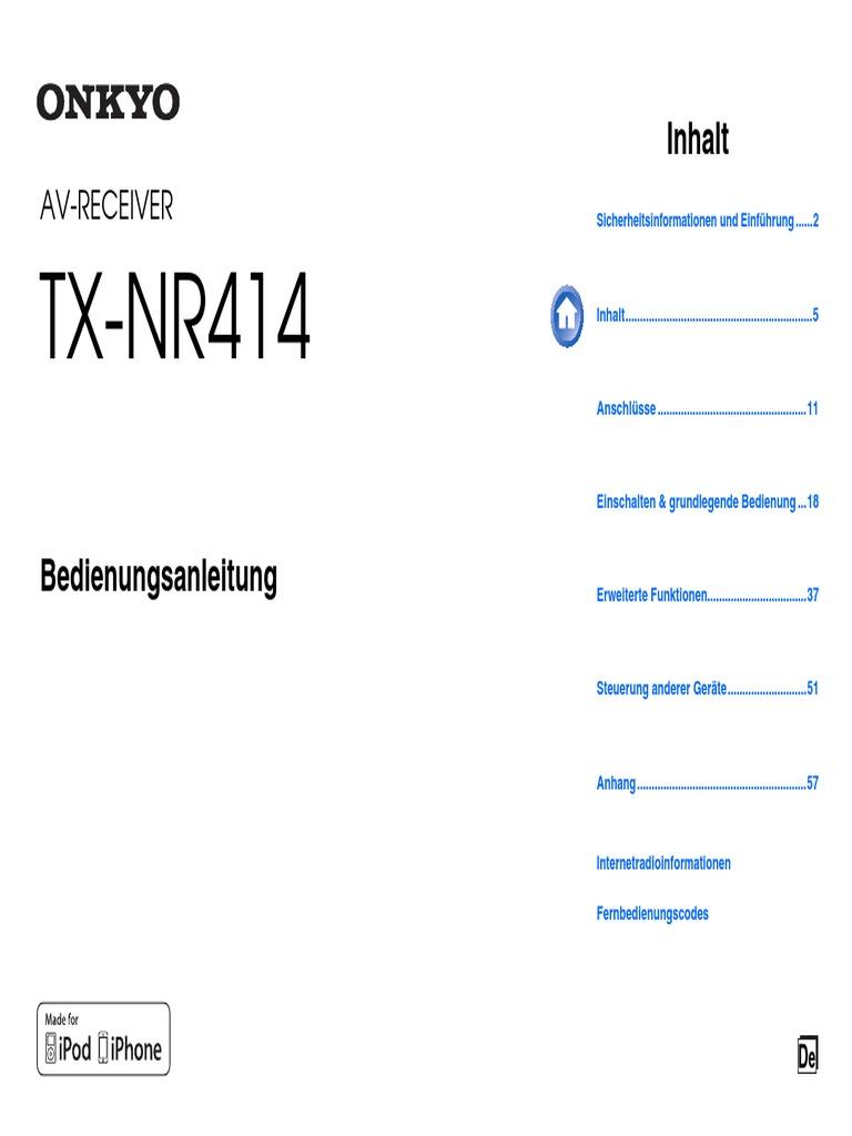 Manual Onkyo TX-NR414 Deutsch