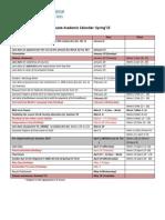 Academic Calendar Spring 2015