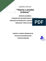 Normas Generales, Proyecto y Tesis