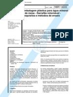Nbr 14222 - Embalagem Plastica Para Agua Mineral e de Mesa - Garrafao Retornavel - Requisitos e m