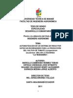 Automatizacion de Un Sistema de Riego Por Goteo en Invernadero Para La Produccion Del Cultivo de Tomate Lycopersicum Esculentum Mill en La Hacienda La Teodomira