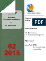Eslarner Gemeinderatssitzung, Mitschrift vom 03.03.2015