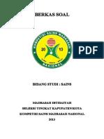 Soal Bidang Studi Sains Mi Seleksi Tk Kab Kota Kompetisi Sains Madrasah Ksm Nasional 2013