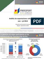 Analisis de Exportaciones Colombianas Ene-jul 2013-2014 0
