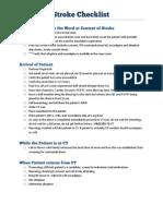 Ischemic Stroke Checklist