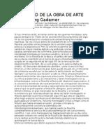 La Verdad de La Obra de Arte. Gadamer