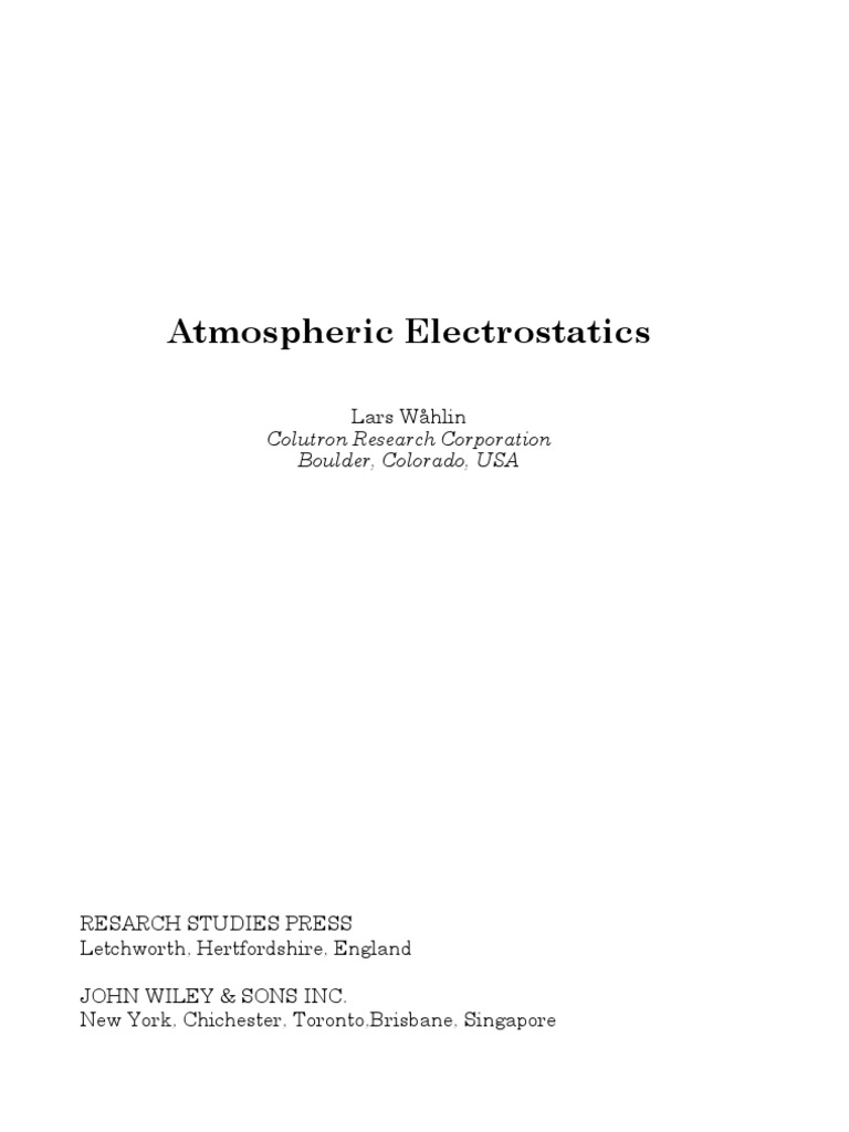 Atmospheric Electrostatics