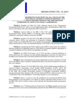 Resolution No. 12-2013