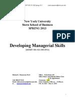 Syllabus NYU Managerial Skills GRAD Spring2013
