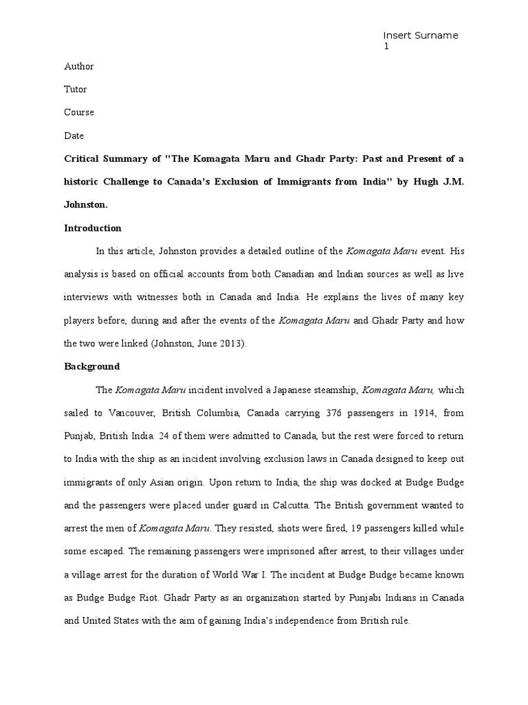 Essay on komagata maru critical analysis essay ghostwriting sites usa