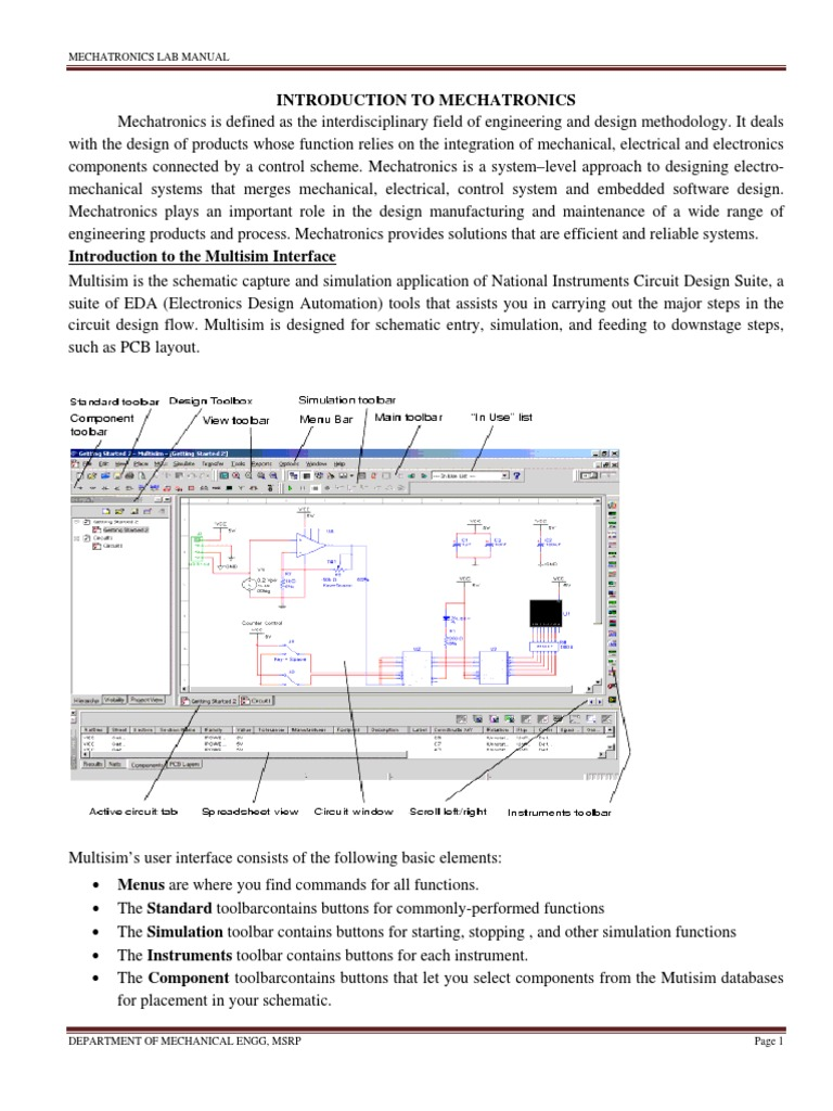Mechatronics Lab Manual MultSim PLC Ladder Simulation Circuits ...