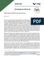Epistemologia e Sociologia Da Ciência Da Administração